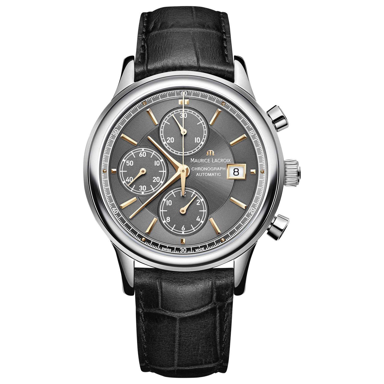 Maurice Lacroix Maurice Lacroix LC6158-SS001-330 Men's Les Classiques Chronograph Crocodile Leather Strap Watch, Black/Silver