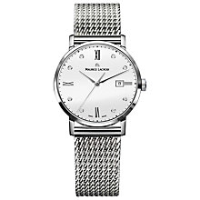 Buy Maurice Lacroix EL1094-SS002-150-1 Women's Eliros Date Mesh Bracelet Watch, Silver/White Online at johnlewis.com