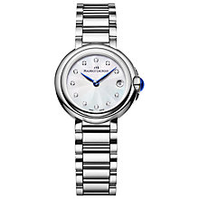 Buy Maurice Lacroix FA1003-SS002-170 Women's Fiaba Diamond Set Bracelet Strap Watch, Silver/Blue Online at johnlewis.com