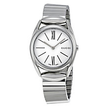 Buy Gucci YA140505 Women's Horsebit Stainless Steel Bracelet Strap Watch, Silver/White Online at johnlewis.com