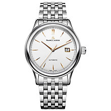 Buy Maurice Lacroix LC6098-SS002-131 Men's Les Classiques Stainless Steel Bracelet Strap Watch, Silver/White Online at johnlewis.com