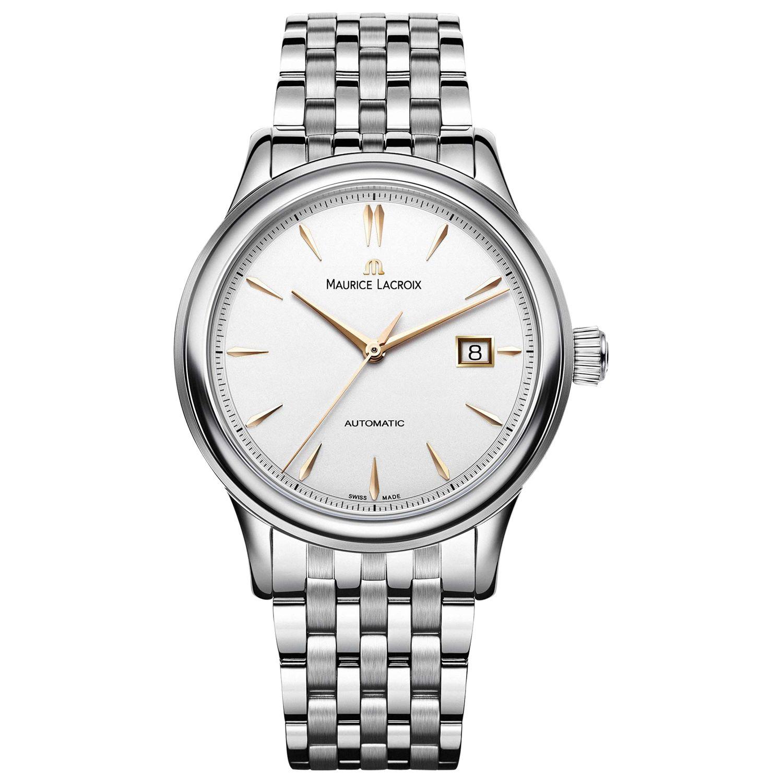 Maurice Lacroix Maurice Lacroix LC6098-SS002-131 Men's Les Classiques Stainless Steel Bracelet Strap Watch, Silver/White