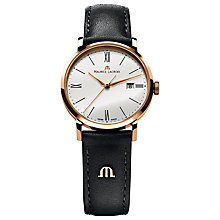 Buy Maurice Lacroix EL1094-PVP01-150-1 Women's Eliros Leather Strap Watch, Black/White Online at johnlewis.com