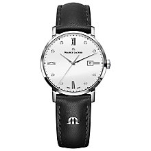 Buy Maurice Lacroix EL1084-SS001-150 Women's Eliros Diamond Leather Strap Watch, Black/White Online at johnlewis.com