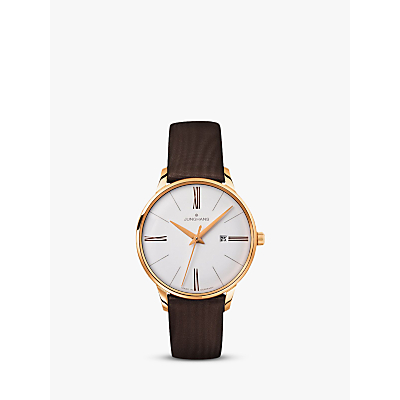 Junghans 047/757100 Women's Meister Damen Leather Strap Watch, Dark Brown/White