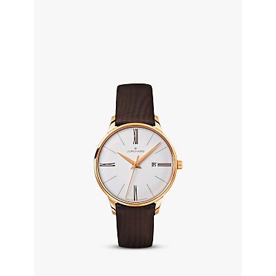 Junghans 047/757100 Women's Meister Damen Leather Strap Watch, Dark Brown/White