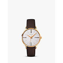 Buy Junghans 047/757100 Women's Meister Damen Leather Strap Watch, Dark Brown/White Online at johnlewis.com