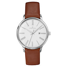 Buy Junghans 047/4566.00 Men's Meister Damen Stainless Steel Leather Strap Watch, Tan/White Online at johnlewis.com