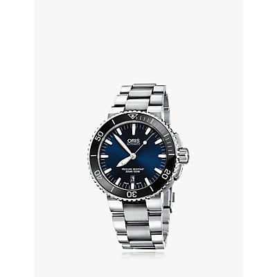 Oris 0173376534135-0782601PEB Men's Aquis Date Bracelet Strap Watch, Silver/Navy