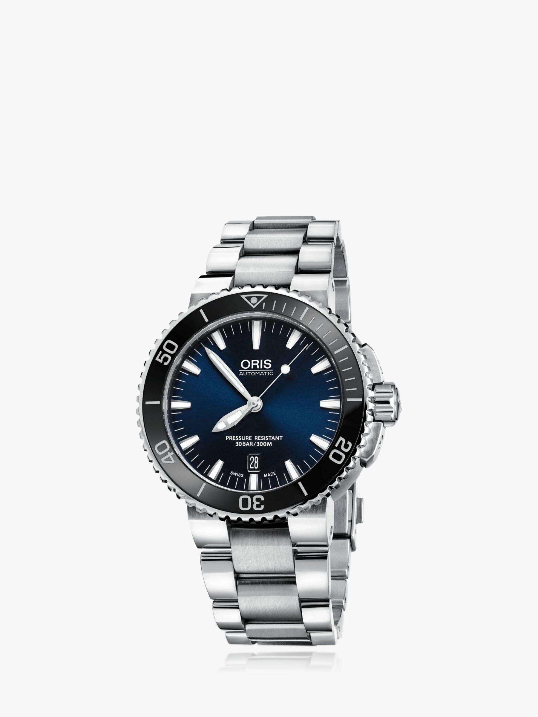 Oris Oris 0173376534135-0782601PEB Men's Aquis Date Bracelet Strap Watch, Silver/Navy