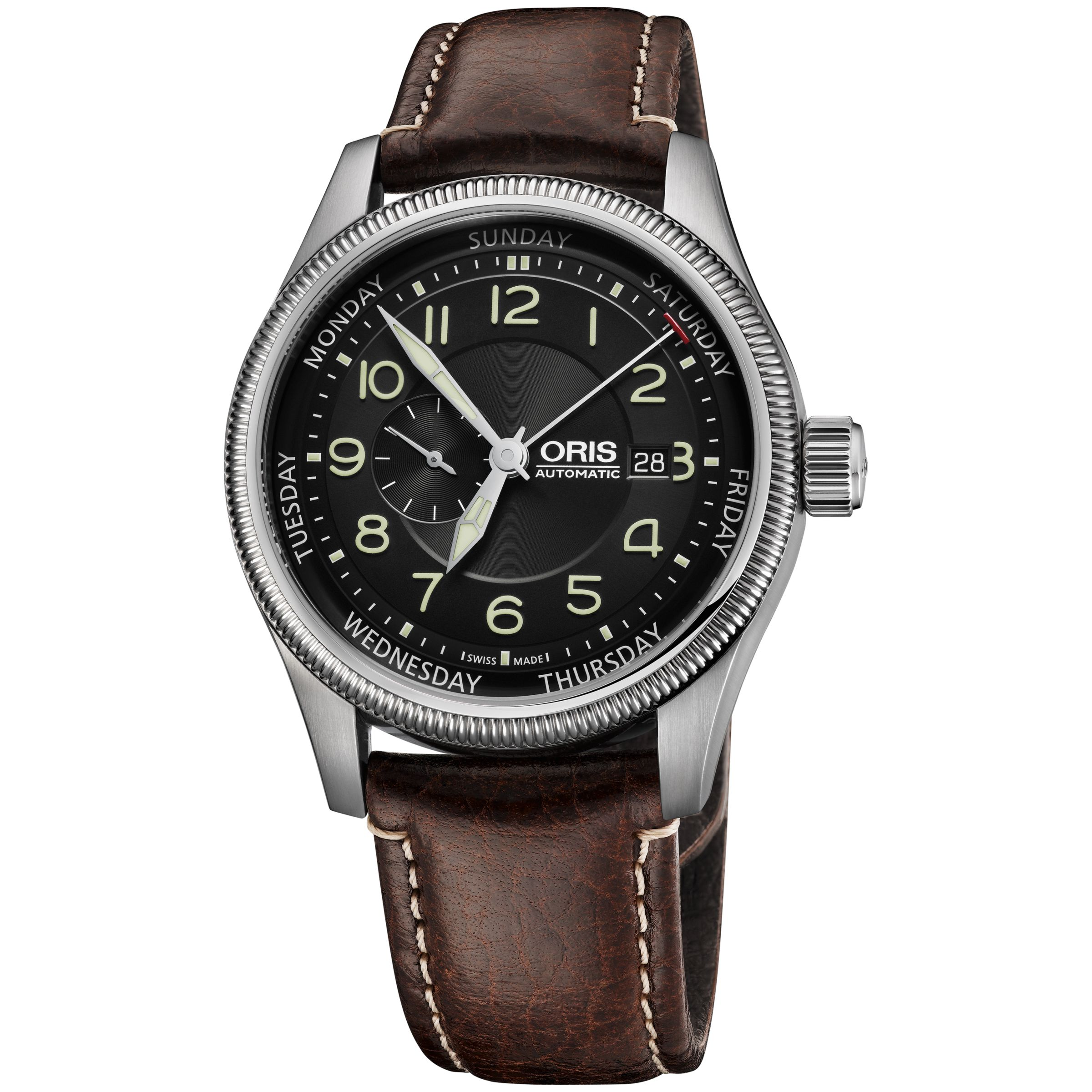 Oris Oris 01 745 7688 4034-07 5 22 77F Men's Big Crown Small Second Pointer Day Leather Strap Watch, Brown/Black
