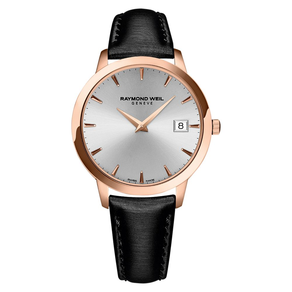 Raymond Weil Raymond Weil 5388-PC5-65001 Women's Toccata Date Leather Strap Watch, Black/Silver
