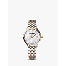 Buy Raymond Weil 5988-SP5-97081 Women's Toccata Diamond Date Bracelet Strap Watch, Silver/Rose Gold Online at johnlewis.com
