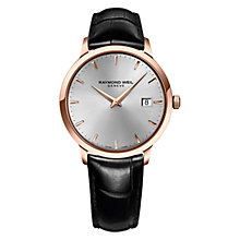 Buy Raymond Weil 5488-PC5-65001 Men's Toccata Rose Gold Plated Leather Strap Watch, Black/Silver Online at johnlewis.com