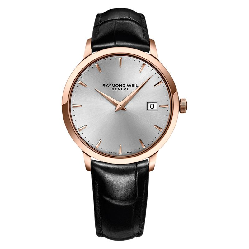 Raymond Weil Raymond Weil 5488-PC5-65001 Men's Toccata Rose Gold Plated Leather Strap Watch, Black/Silver