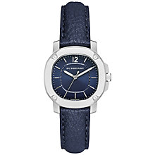 Buy Burberry BBY1716 Women's The Britain Leather Strap Watch, Navy Online at johnlewis.com