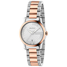 Buy Gucci YA126528 Women's G-Timeless Rose Gold Plated Stainless Steel Bracelet Strap Watch, Silver Online at johnlewis.com