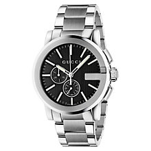 Buy Gucci YA101204 Men's G-Chrono New XL Chronograph Stainless Steel Bracelet Strap Watch, Silver/Black Online at johnlewis.com