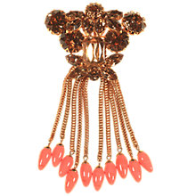 Buy Alice Joseph Vintage Gold Plated Diamante Faux Coral Glass Brooch, Citrine Online at johnlewis.com