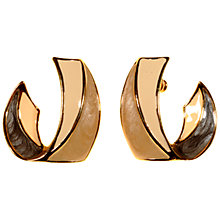 Buy Alice Joseph Vintage Trifari Gold Plated Enamel Stud Earrings, Cream Online at johnlewis.com