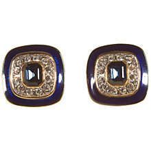 Buy Alice Joseph Vintage Gold Plated Enamel Diamante Stone Clip On Earrings, Blue Online at johnlewis.com