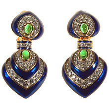Buy Alice Joseph Vintage 1980s Gold Plated Enamel Diamante Earrings, Blue Online at johnlewis.com