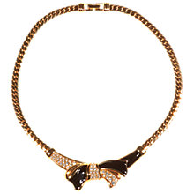 Buy Alice Joseph Vintage 1980s Swarovski Black Enamel White Diamante Necklace, Gold Online at johnlewis.com