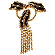 Buy Alice Joseph Vintage Valentino Gold Plated Enamel And Diamante Bow Brooch, White Online at johnlewis.com