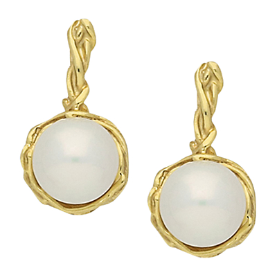London Road 9ct Gold Burlington Willow Drop Pearl Earrings, Gold