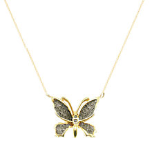 Buy London Road 9ct Gold Rhodium Black Diamond Butterfly Pendant Necklace, Gold Online at johnlewis.com