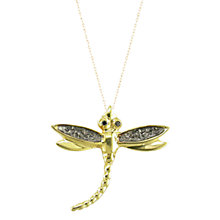 Buy London Road 9ct Gold Rhodium Black Diamond Dragonfly Pendant Necklace, Gold Online at johnlewis.com