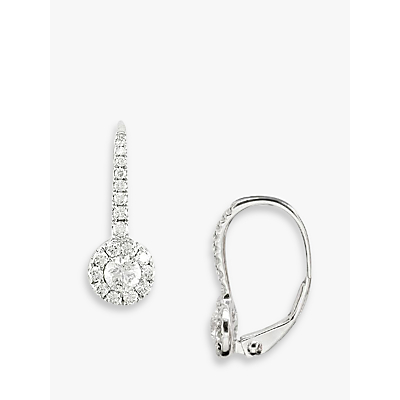 EWA 18ct White Gold Diamond Cluster Drop Earrings, White Gold