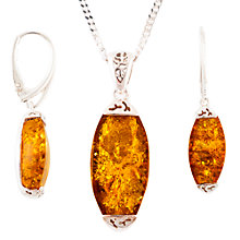 Buy Be-Jewelled Rhodium Plated Sterling Silver Amber Pendant Necklace And Earrings Gift Set, Amber Online at johnlewis.com