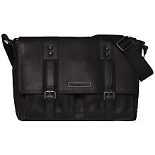 Buy Tommy Hilfiger Tiago Leather Messenger Bag, Black Online at johnlewis.com