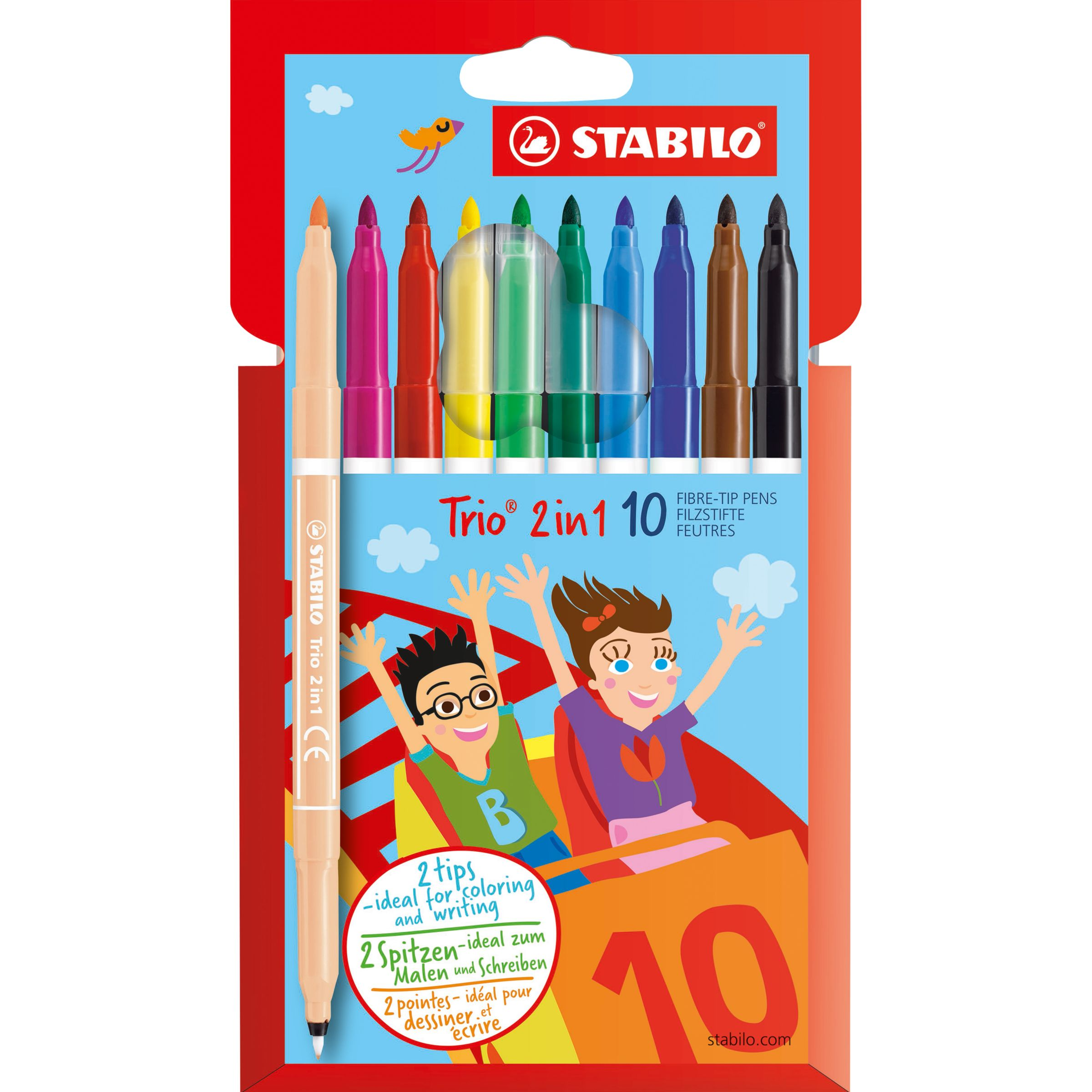 Stabilo Stabilo Trio 2 in 1 Double Ended Coloured Pens, Pack of 10