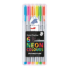 Buy Staedtler Neon Triplus Colour Fineliner Pens, Pack of 6 Online at johnlewis.com