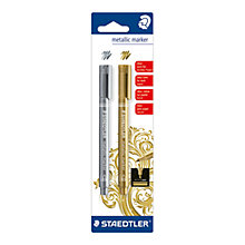 Buy Staedtler Metallic Marker Pens, Pack of 2, Gold and Silver Online at johnlewis.com