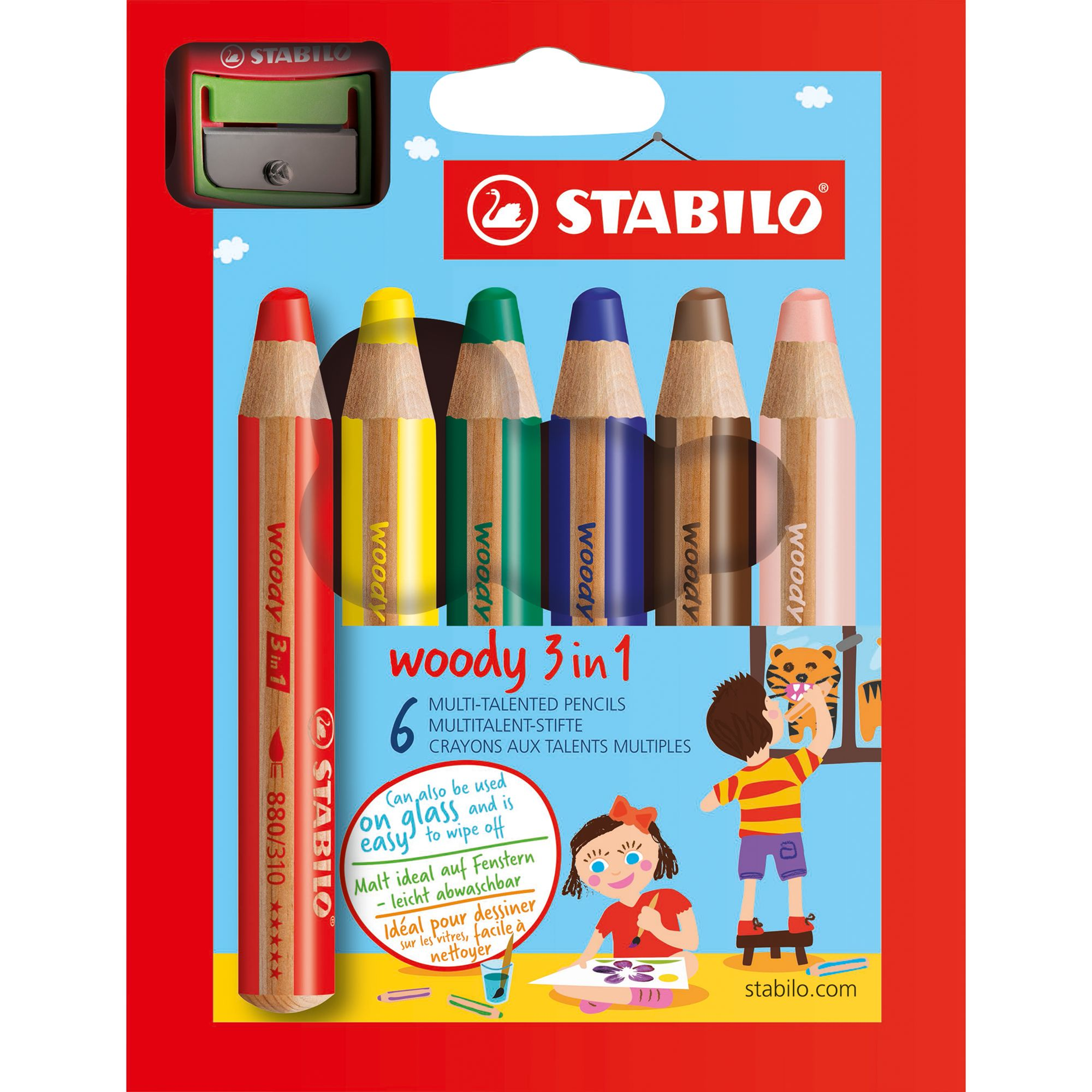Stabilo Stabilo Woody 3 in 1 Coloured Pencils, Pack of 6, Multi