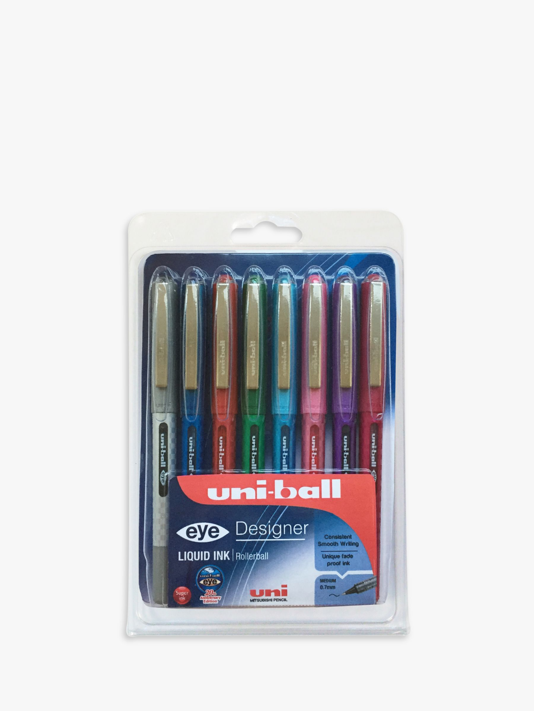 Mitsubishi Mitsubishi UB-157D Rollerball Pens, Pack of 8, Assorted Colours