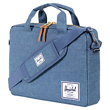 "Buy Herschel Hudson Crosshatch 13"" Laptop Messenger Bag, Navy Online at johnlewis.com"