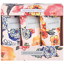 Buy Heathcote & Ivory Vintage Pattern & Petals Mini Hand Creams, 3 x 30ml Online at johnlewis.com