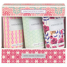 Buy Heathcote & Ivory Vintage Vintage Fabric & Flowers Mini Hand Creams, 3 x 30ml Online at johnlewis.com