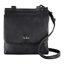 Buy Tula Nappa Original Small Flap Over Across Body Bag, Black Online at johnlewis.com