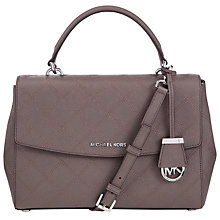 Buy MICHAEL Michael Kors Ava Medium Leather Satchel, Taupe Online at johnlewis.com