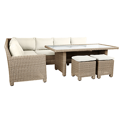 John Lewis Dante Outdoor Corner Lounging Sofa With Table & Footstools