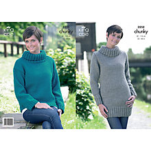 Buy King Cole Ladies' Roll Neck Jumpers Knitting Pattern, 3252 Online at johnlewis.com