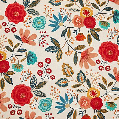 Image of Harlequin Caspia Furnishng Fabric, Coral / Indigo