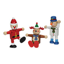Buy Flexi Wooden Christmas Character Toy, Assorted Online at johnlewis.com