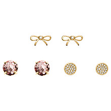 Buy kate spade new york Glitter and Glass Stone 3 Piece Stud Earrings, Rose Gold/Gold Online at johnlewis.com