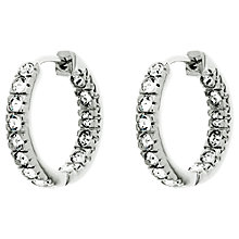 Buy Finesse Rhodium Plated Swarovski Crystal Hoop Earrings, Silver Online at johnlewis.com